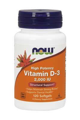 NOW Vitamin D3 2,000 IU Softgels