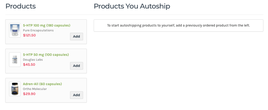autoship choose products