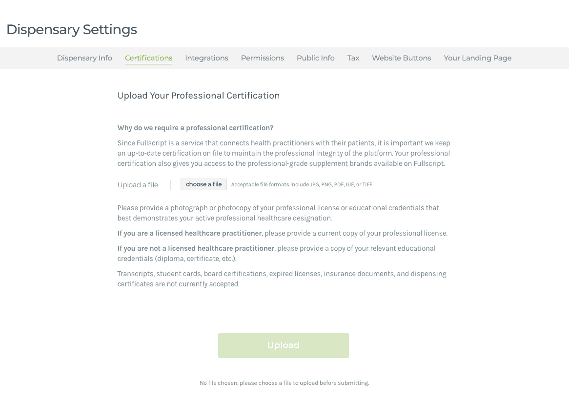 Upload a Certification
