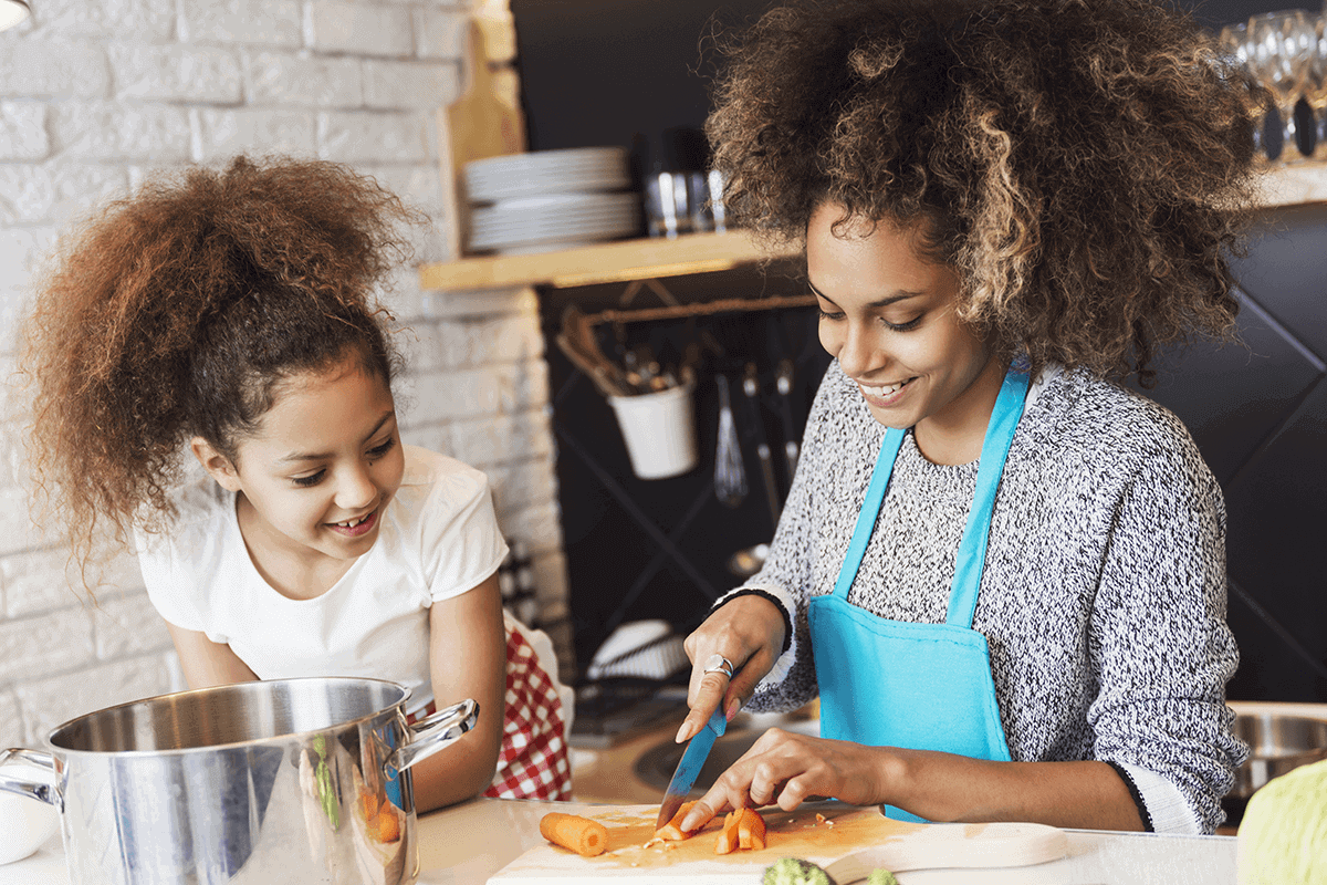 woman and daughter cooking together