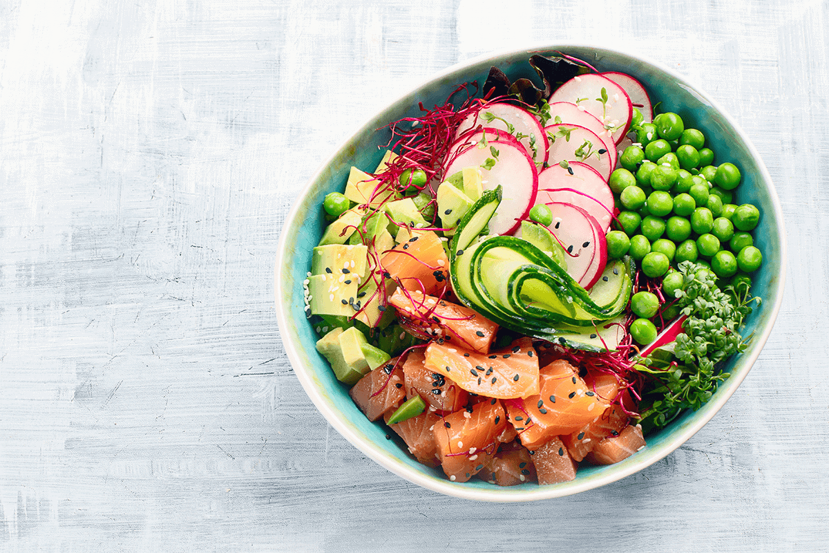 poke bowl full of vegetables and superfoods