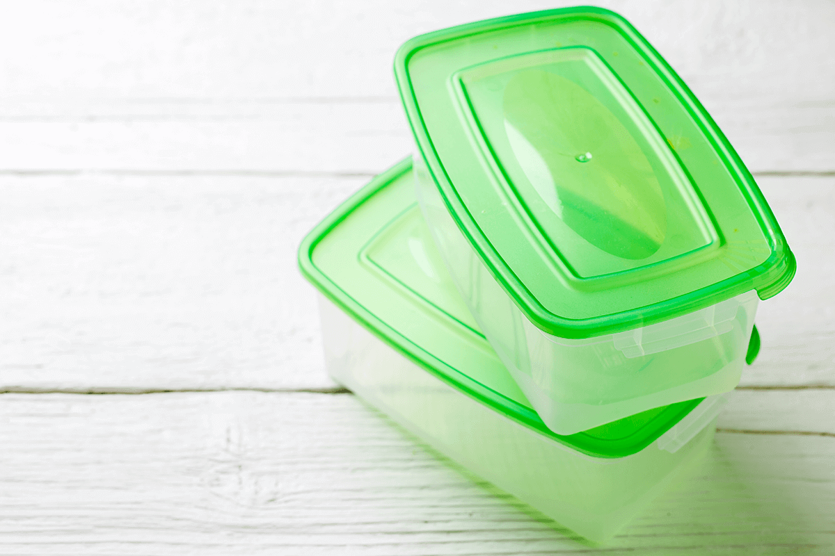 two plastic containers stacked