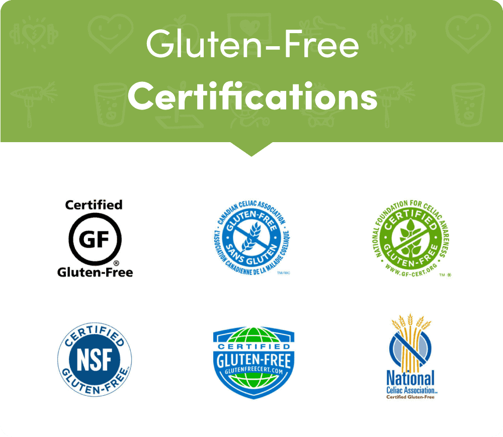 custom designed logos of gluten free certifications
