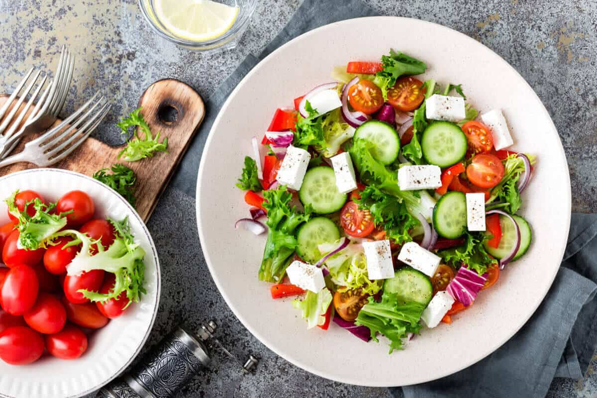 Mediterranean salad with Mediterranean vegetables