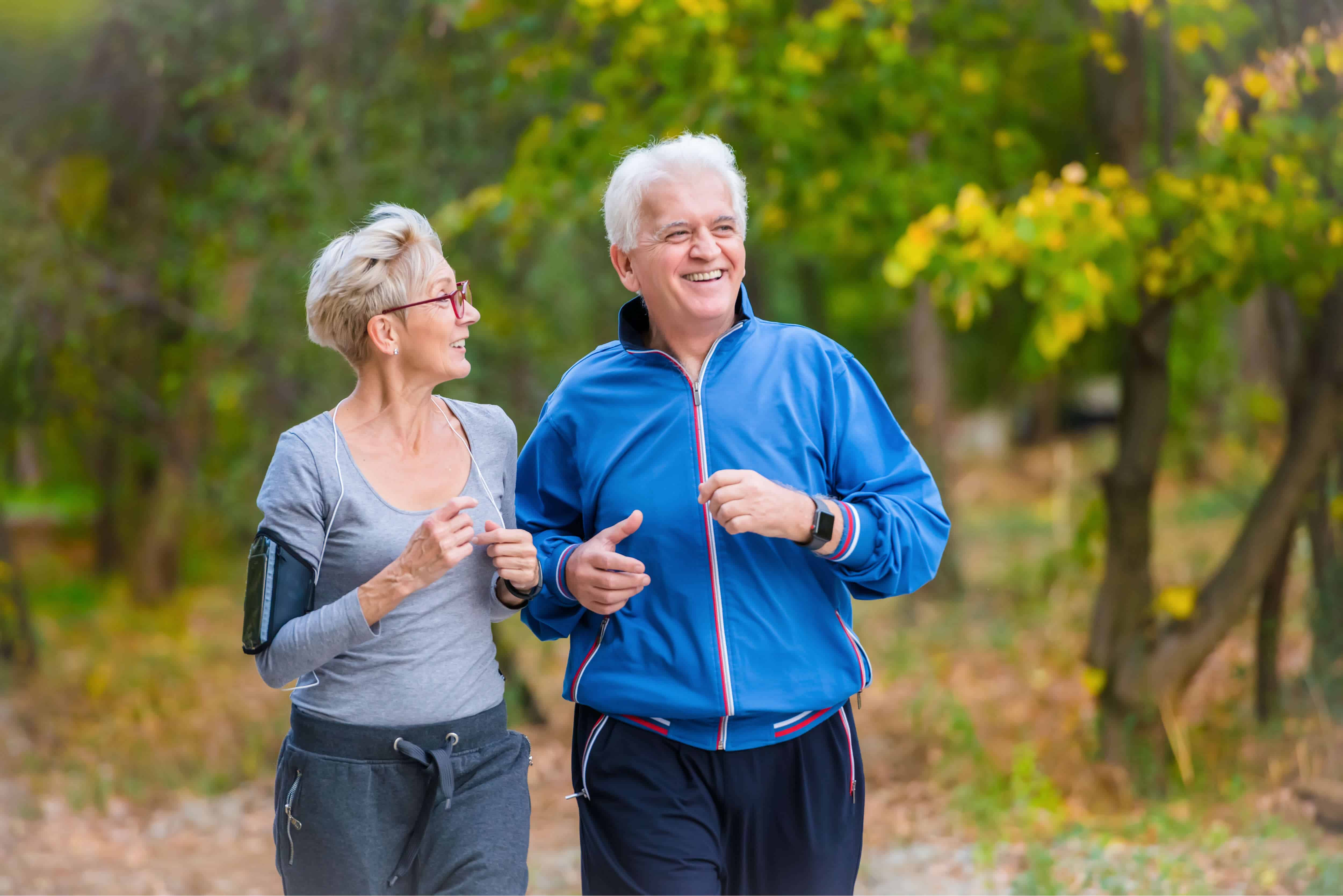 Active older adults running outside