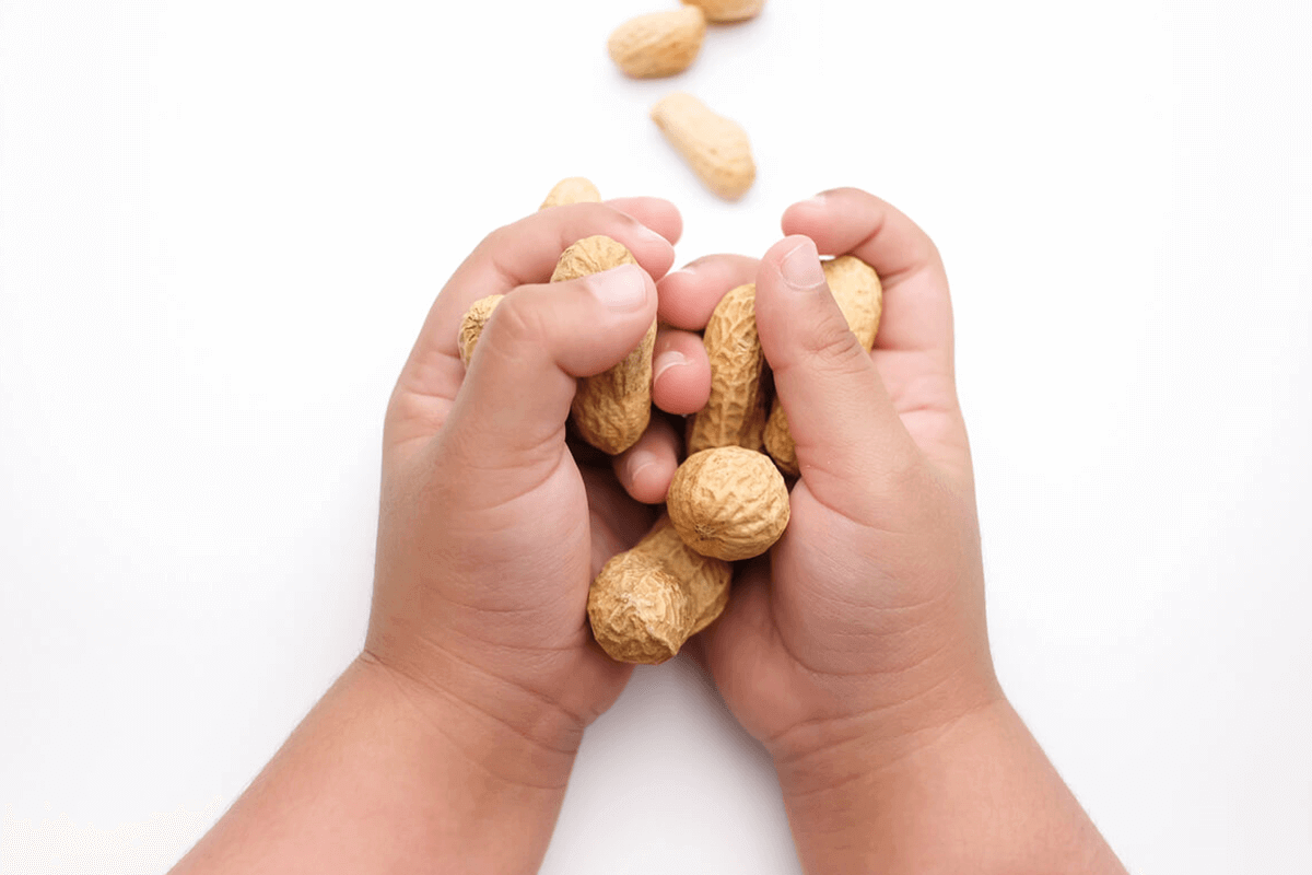 close up of child's hand holding peanuts