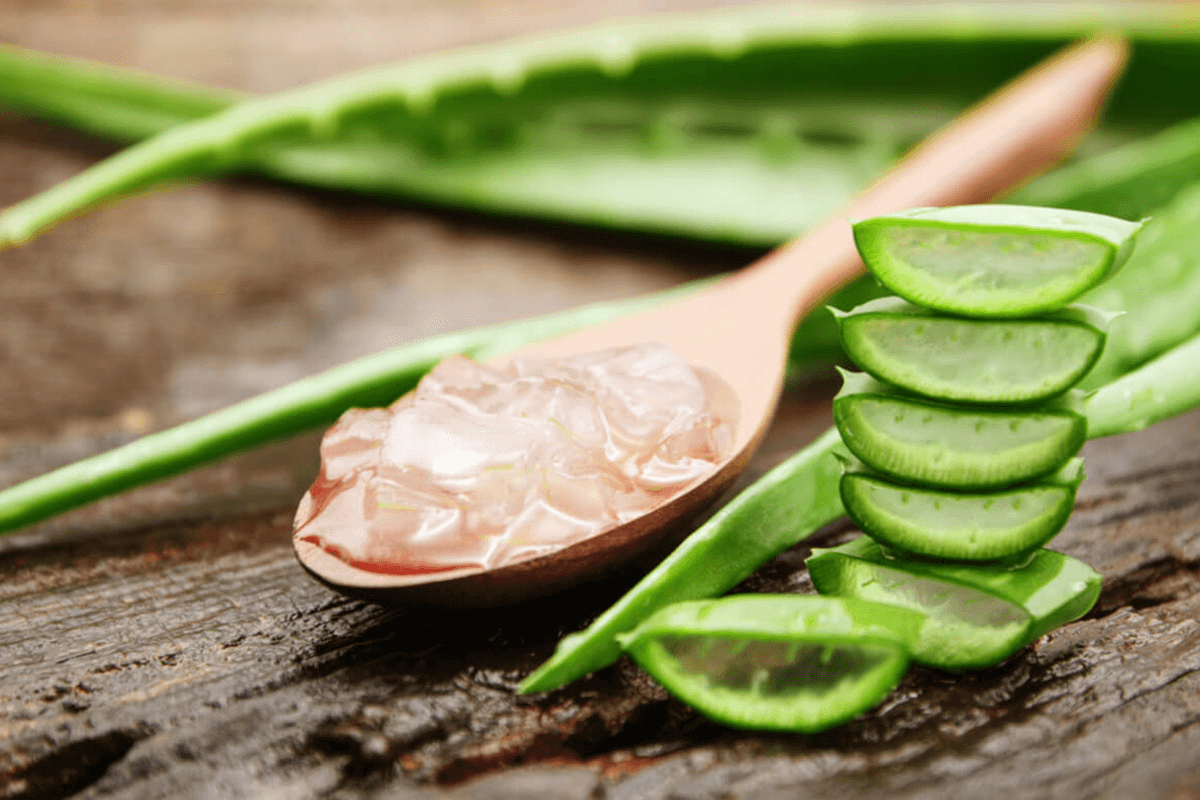 aloe vera extract cut up in raw form on a wooden spoon
