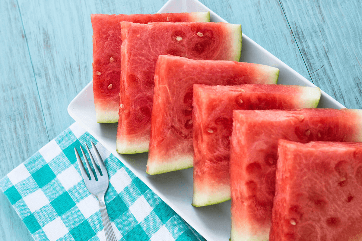 cut up watermelon on table