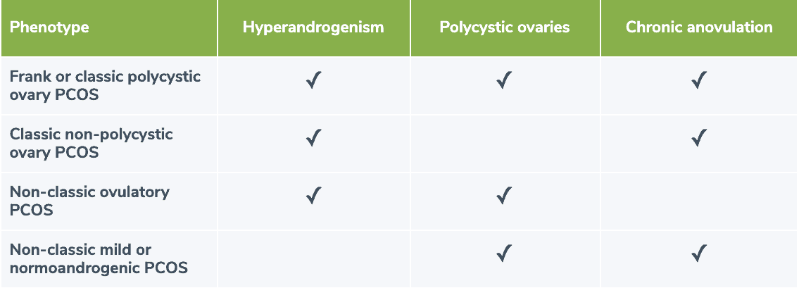 table showing an overview of the clinical presentation of the four PCOS phenotypes