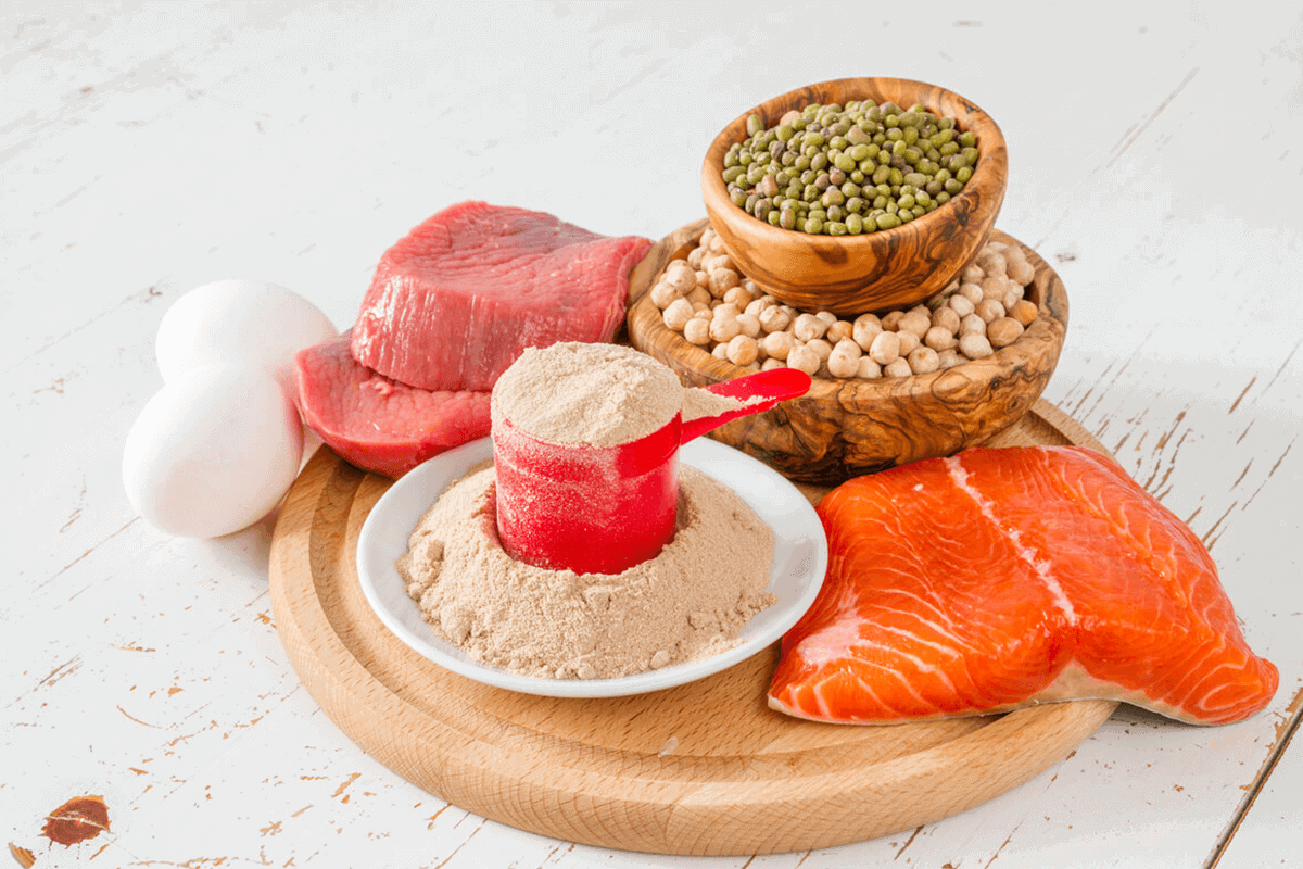 protein-rich food products raw on table