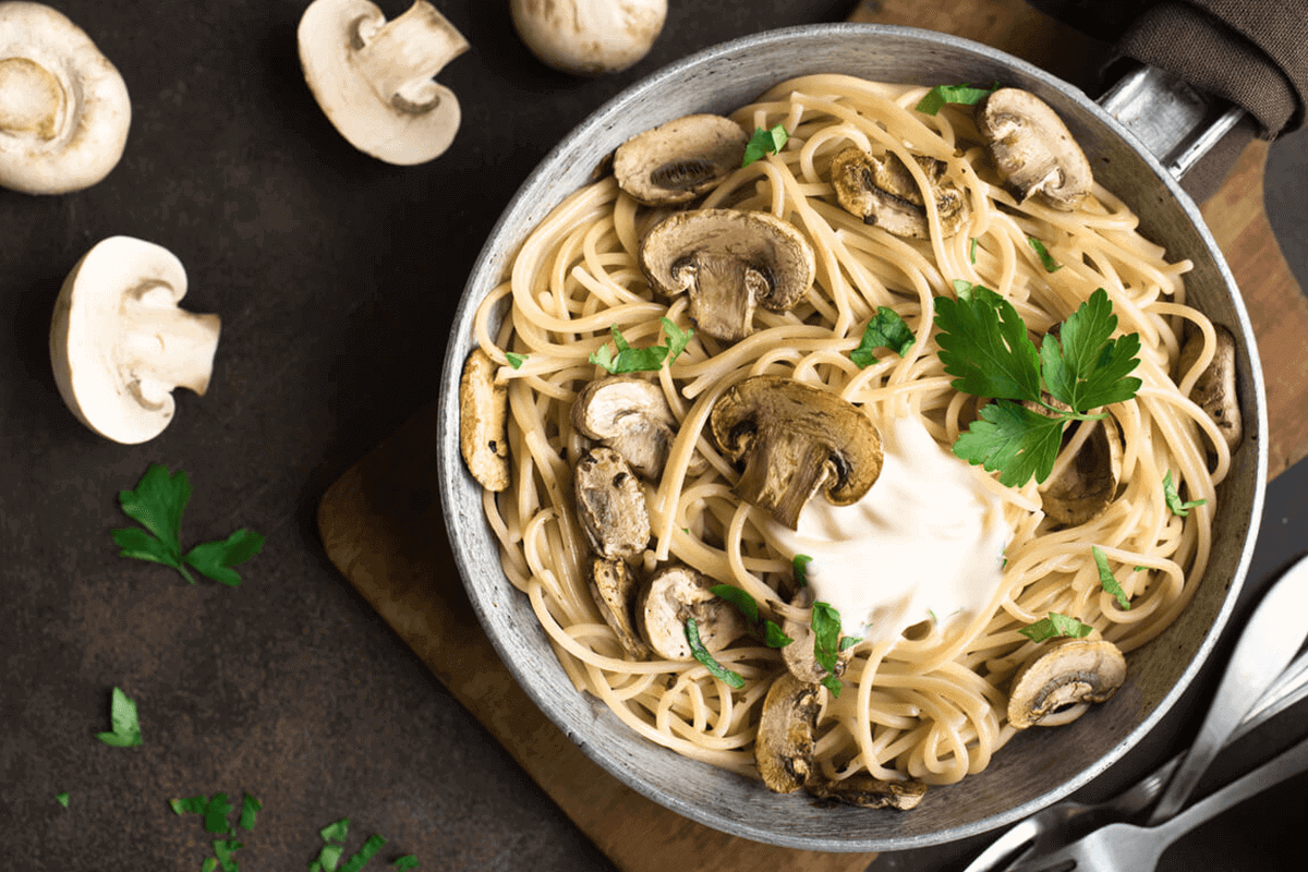 pasta dish with mushrooms and pasta sauce