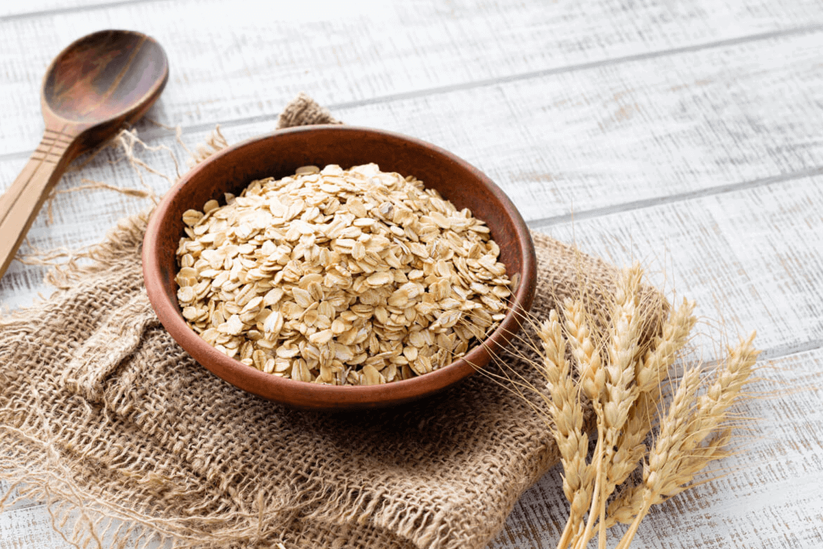 oats in a wooden bowl