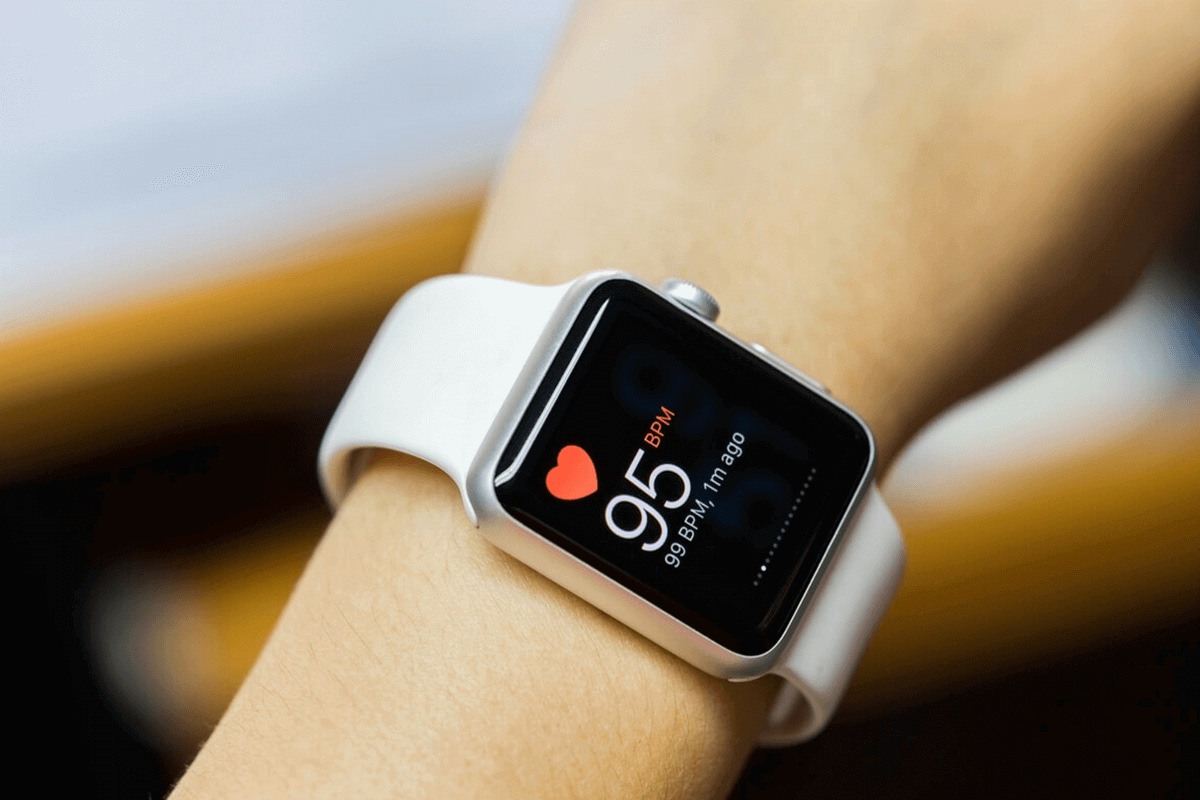 close up of person's arm with apple watch on it showing health app