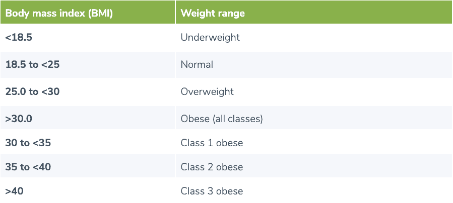 BMI weight range table