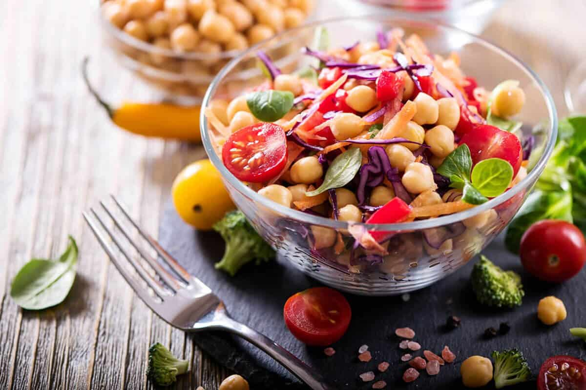 plant-based dish with chick peas and vegetables