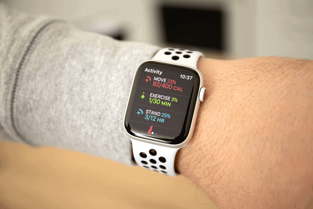 close up on a person's hand wearing an Apple Watch with the health app open