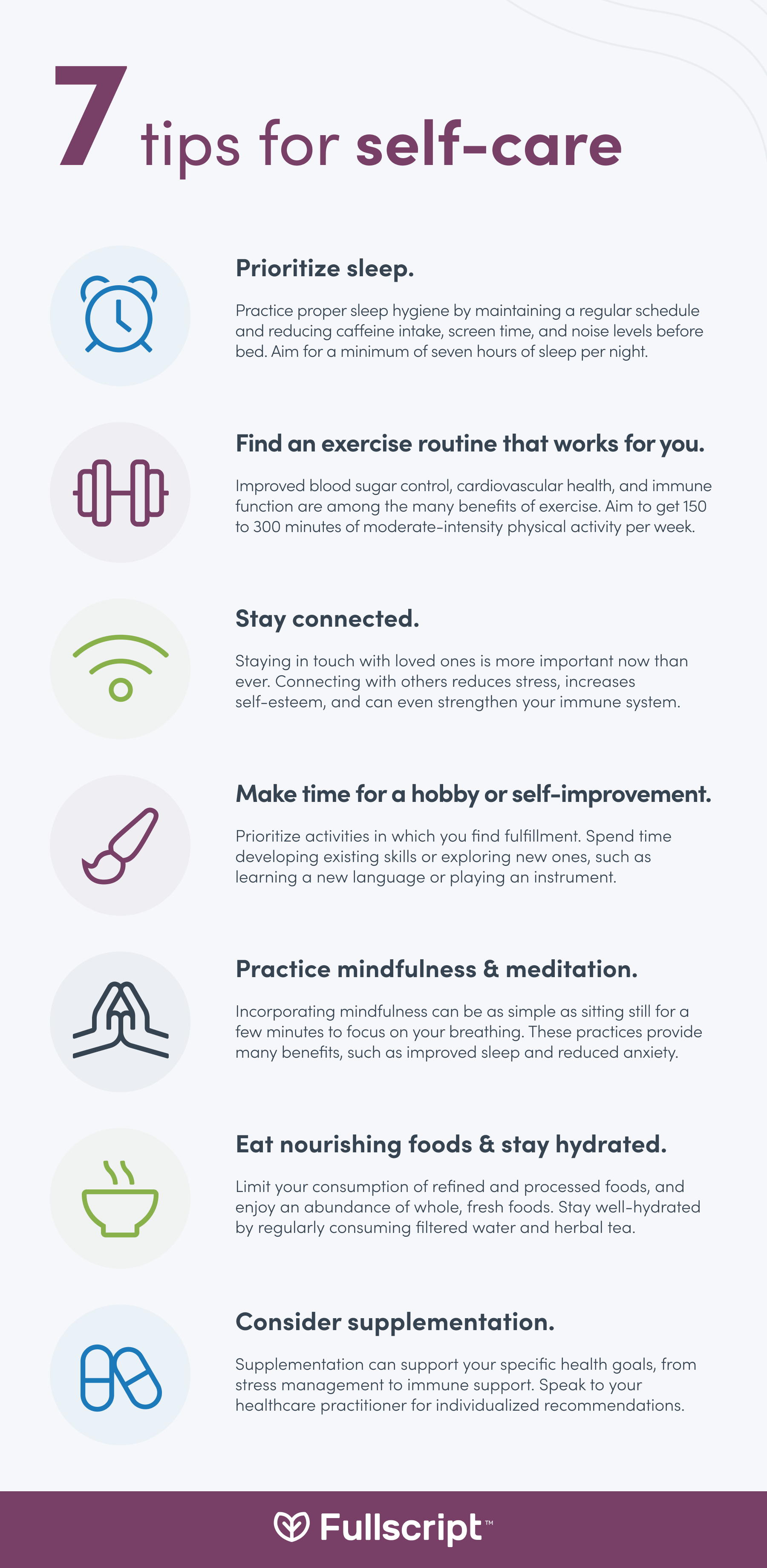 Self-care activities support infographic