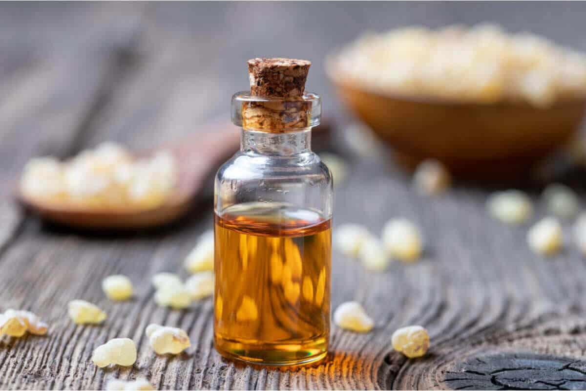 Boswellia serrata oil in a small glass bottle