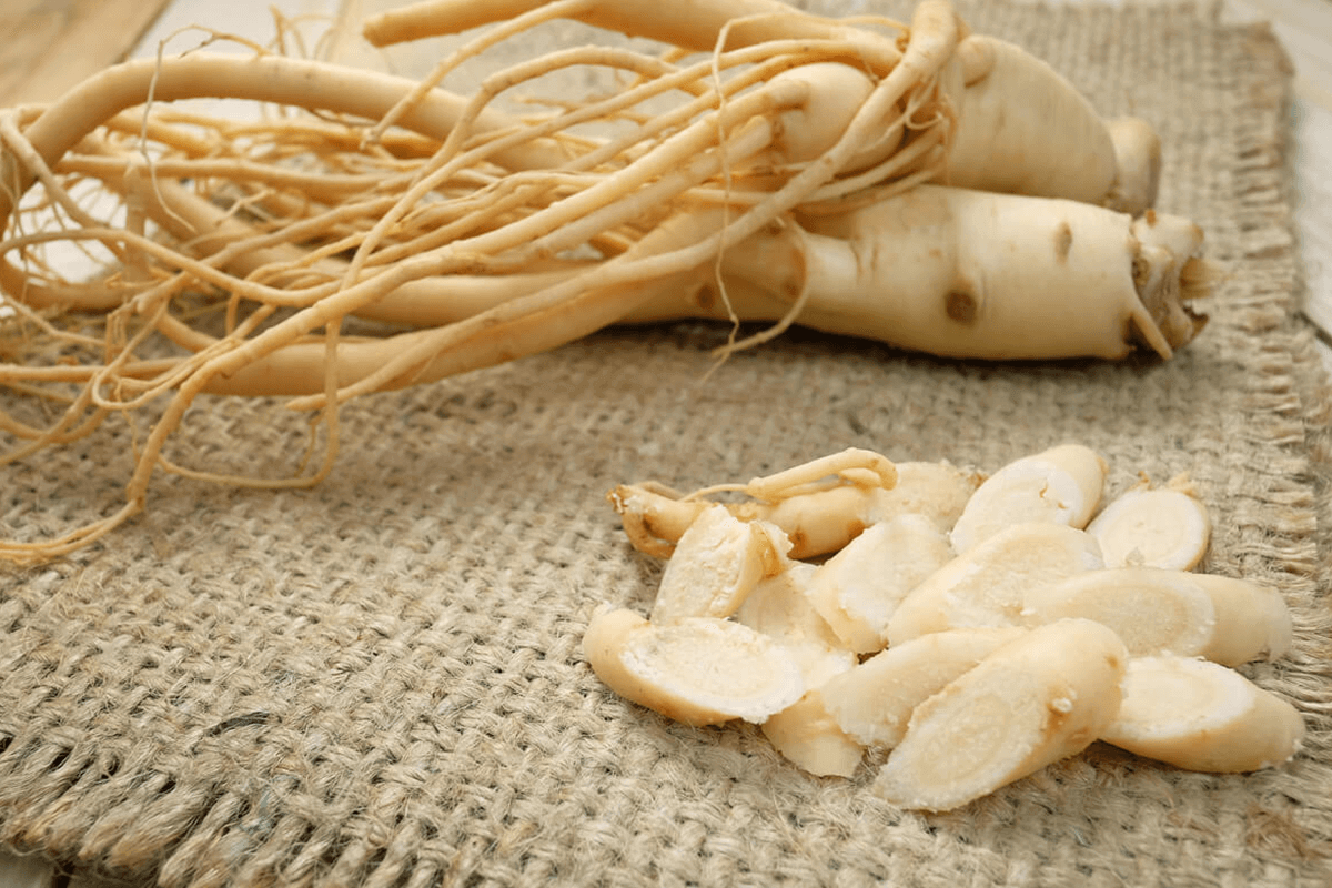 Ginseng root and plant cut up into pieces