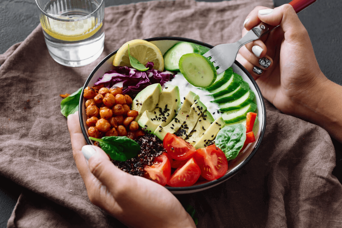 close up of a vegetable/plant-based bowl of food