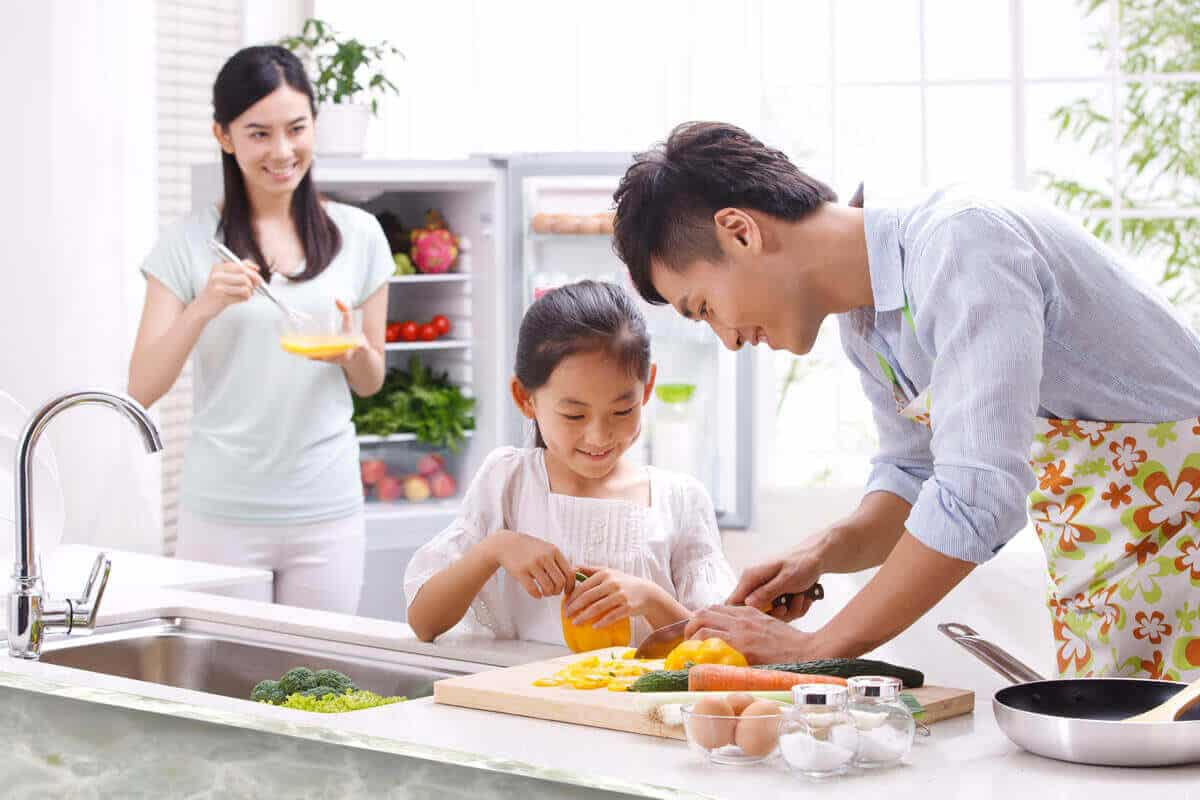 Image of family cooking