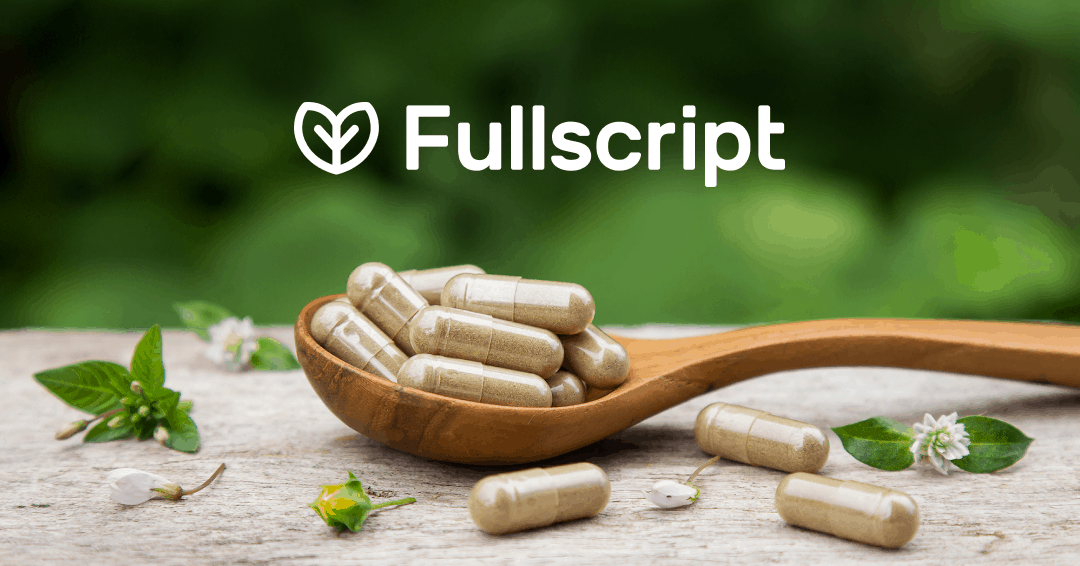 Fullscript logo above a wooden spoon with supplements in it