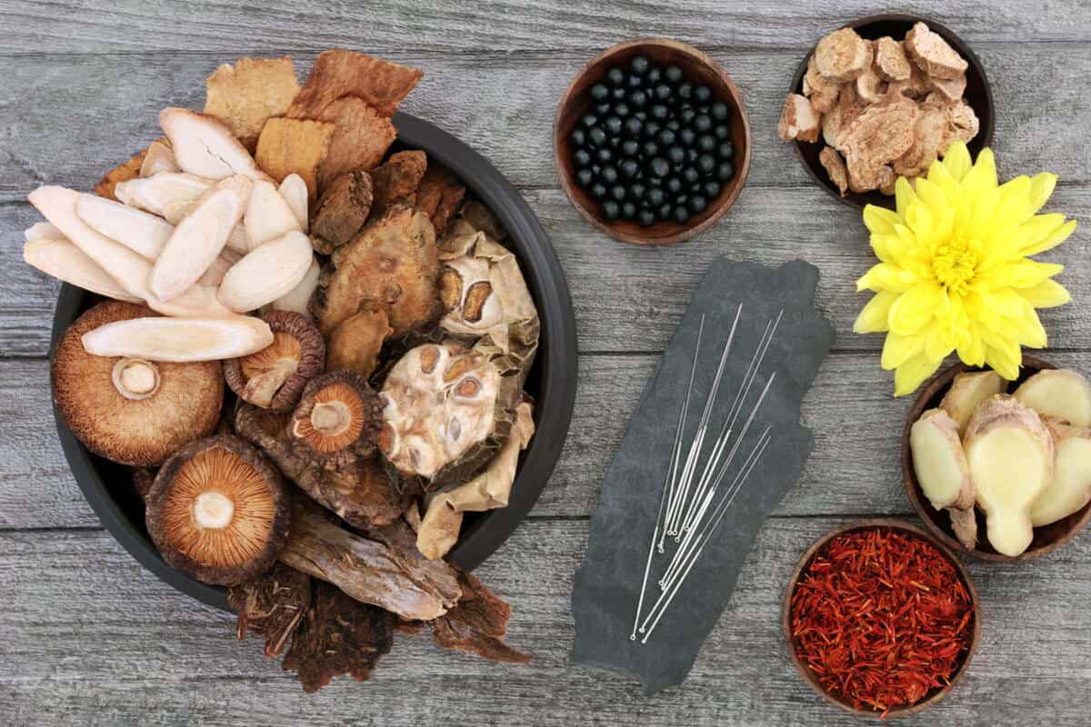 A spread of traditional Chinese herbs and TMC treatments