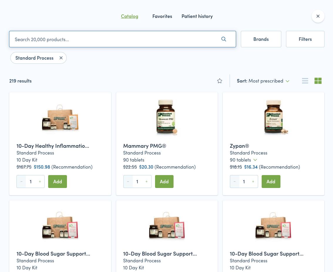 Standard process products in the Fullscript catalog