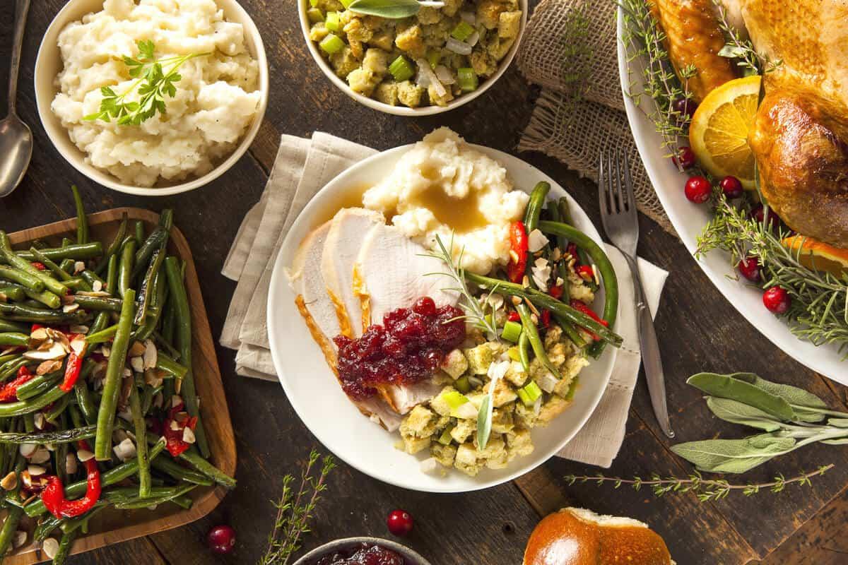Christmas dinner meal spread