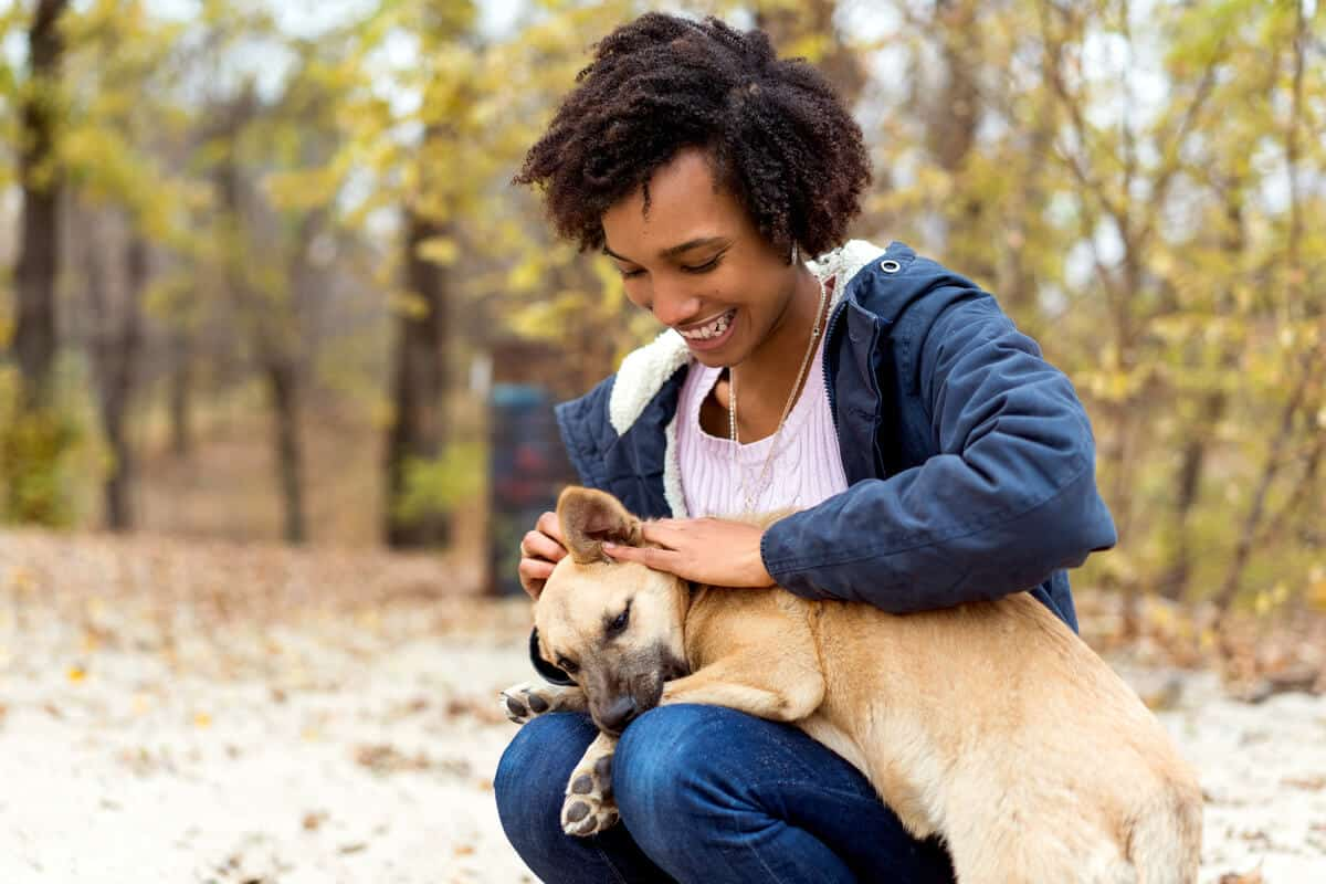 Person holding a dog