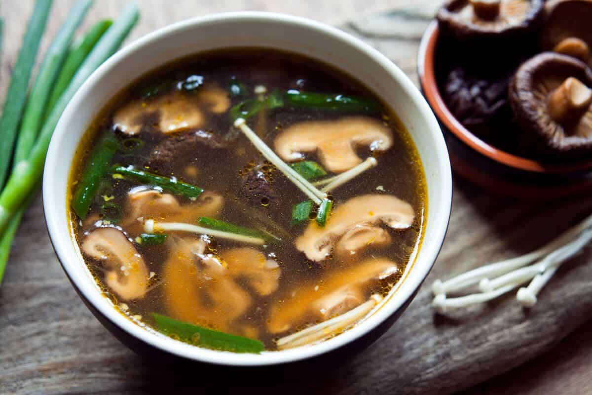 Bowl of shiitake mushroom soup