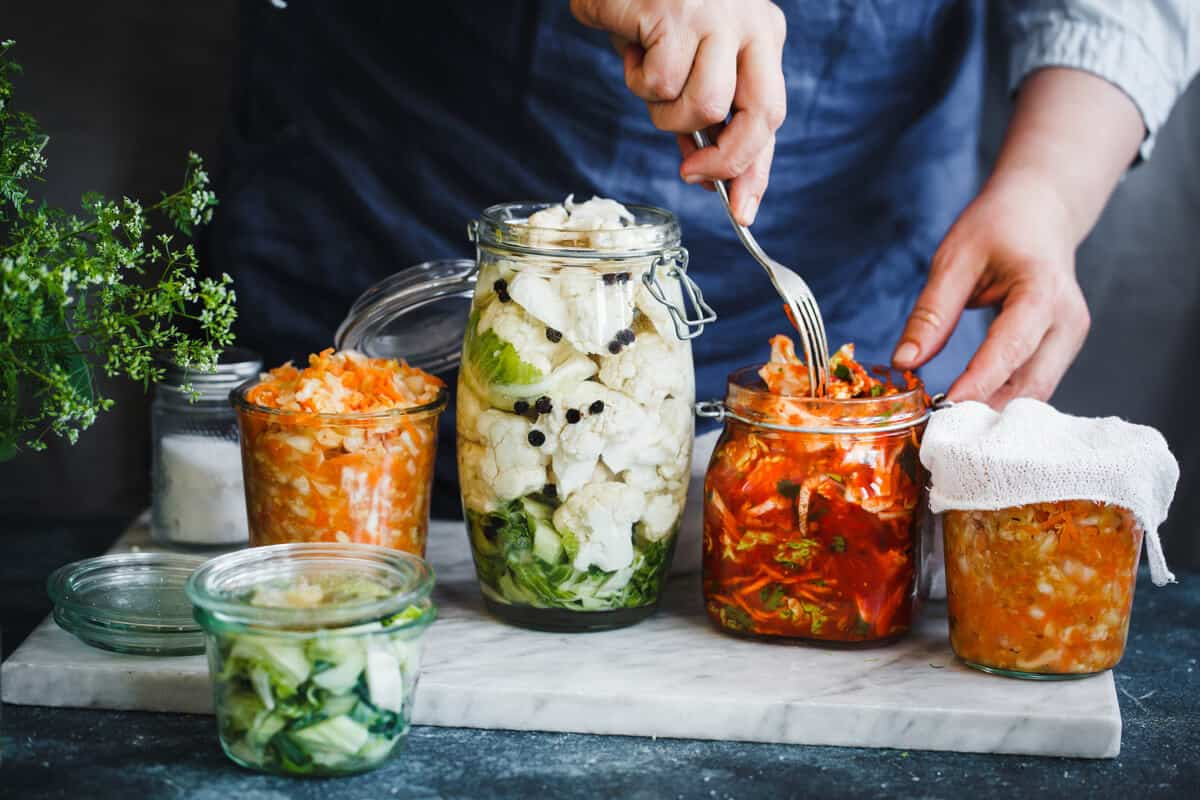 Jars of fermented foods