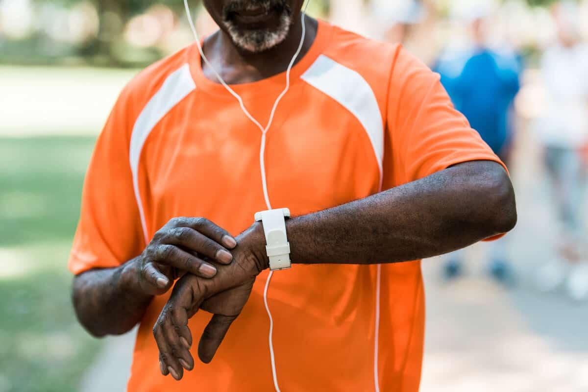 Man checking his wrist watch