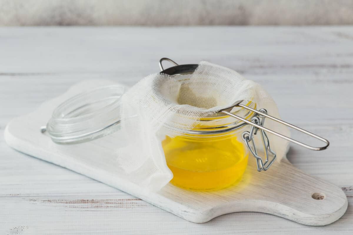Jar of ghee cooking oil