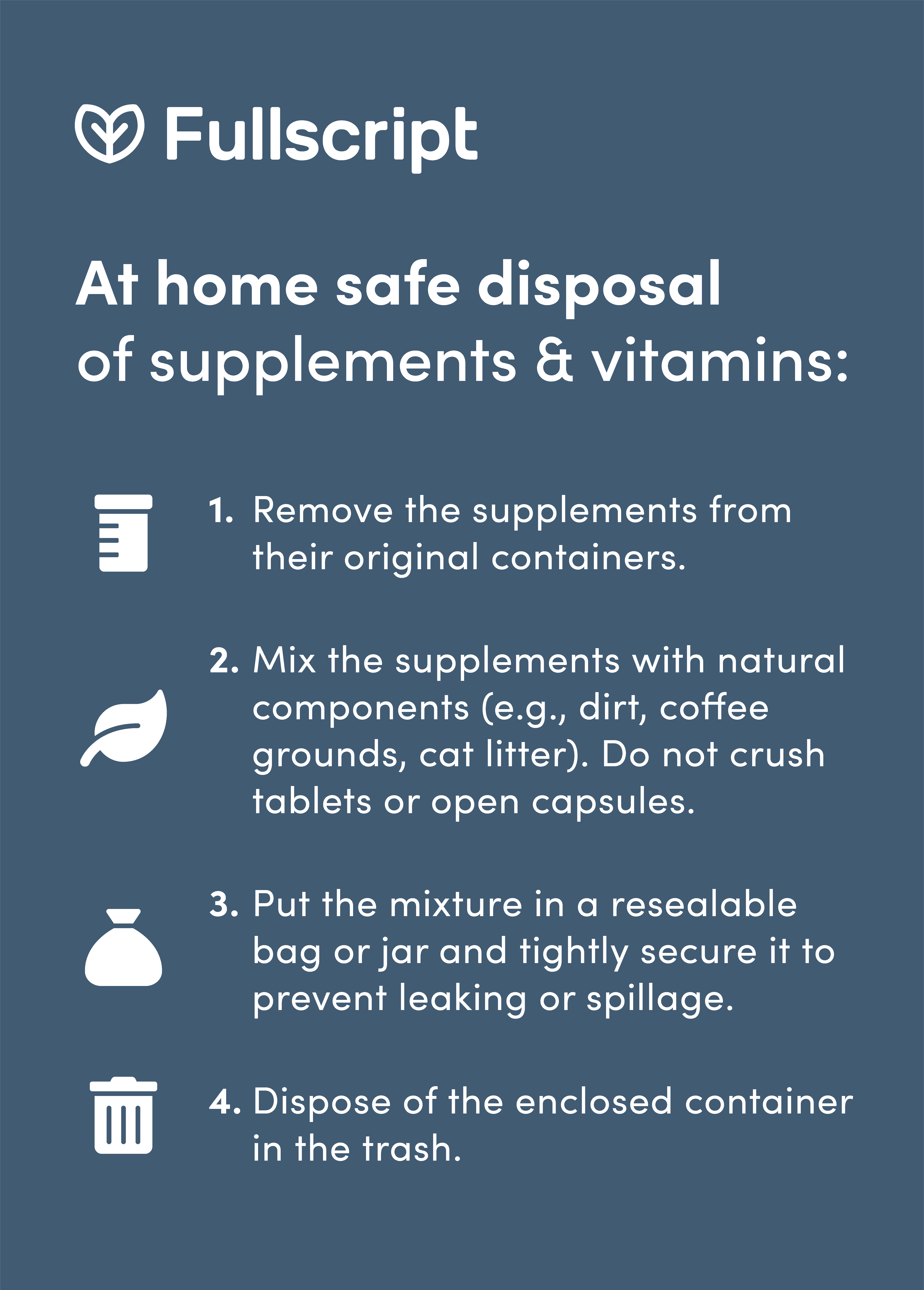 Safe disposal of supplements infographic