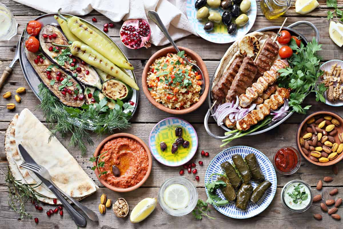 Mediterranean diet food spread