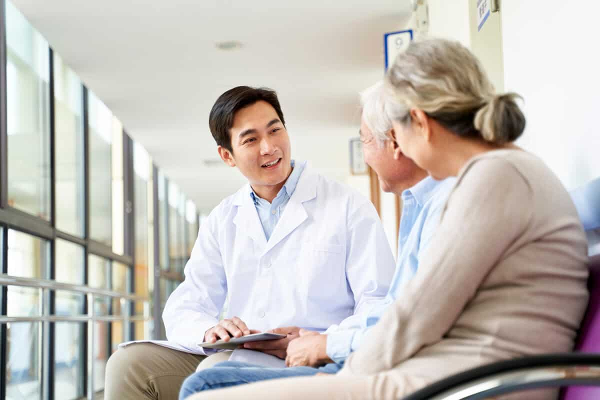Patients consulting with a doctor