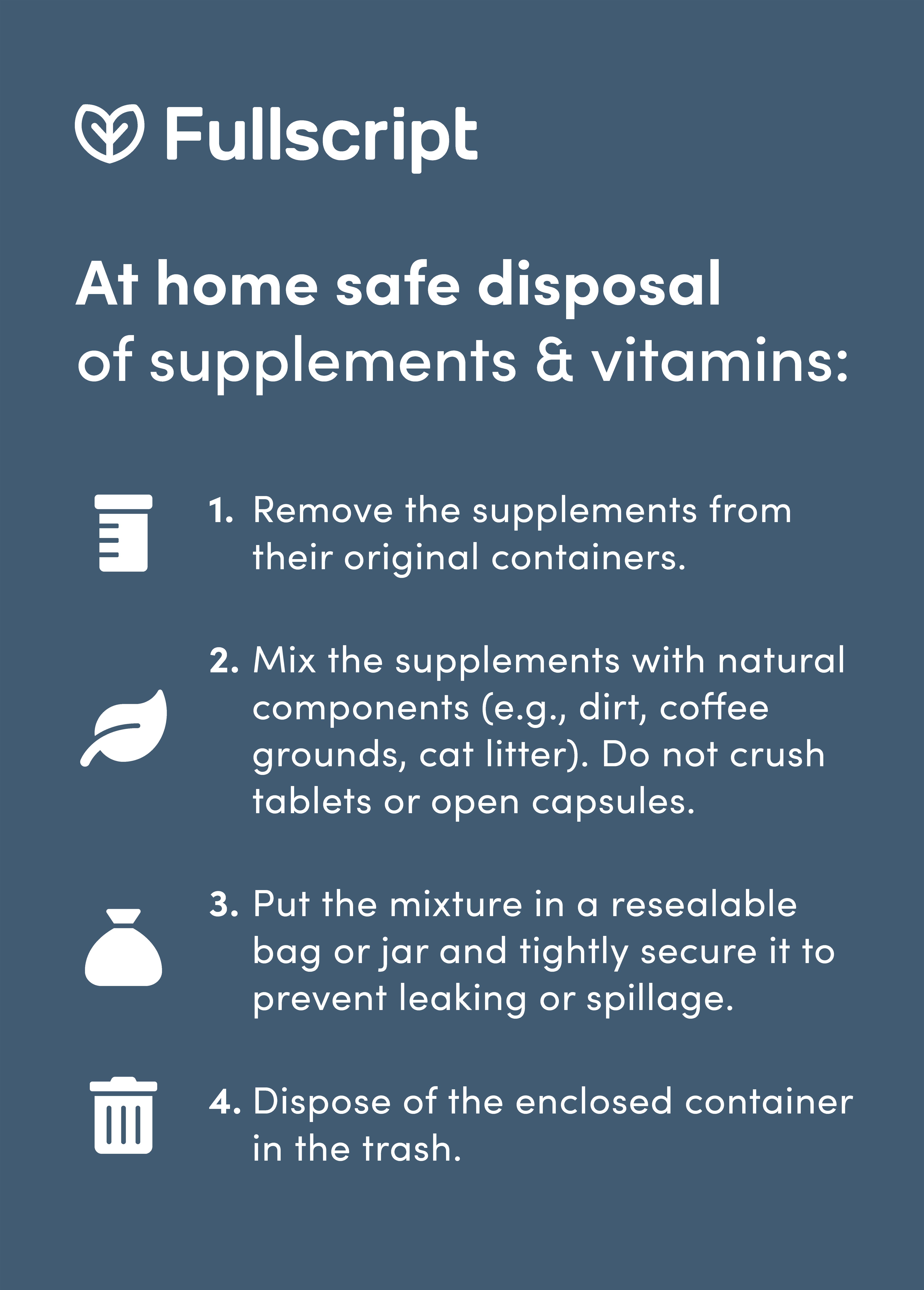 Supplement disposal infographic