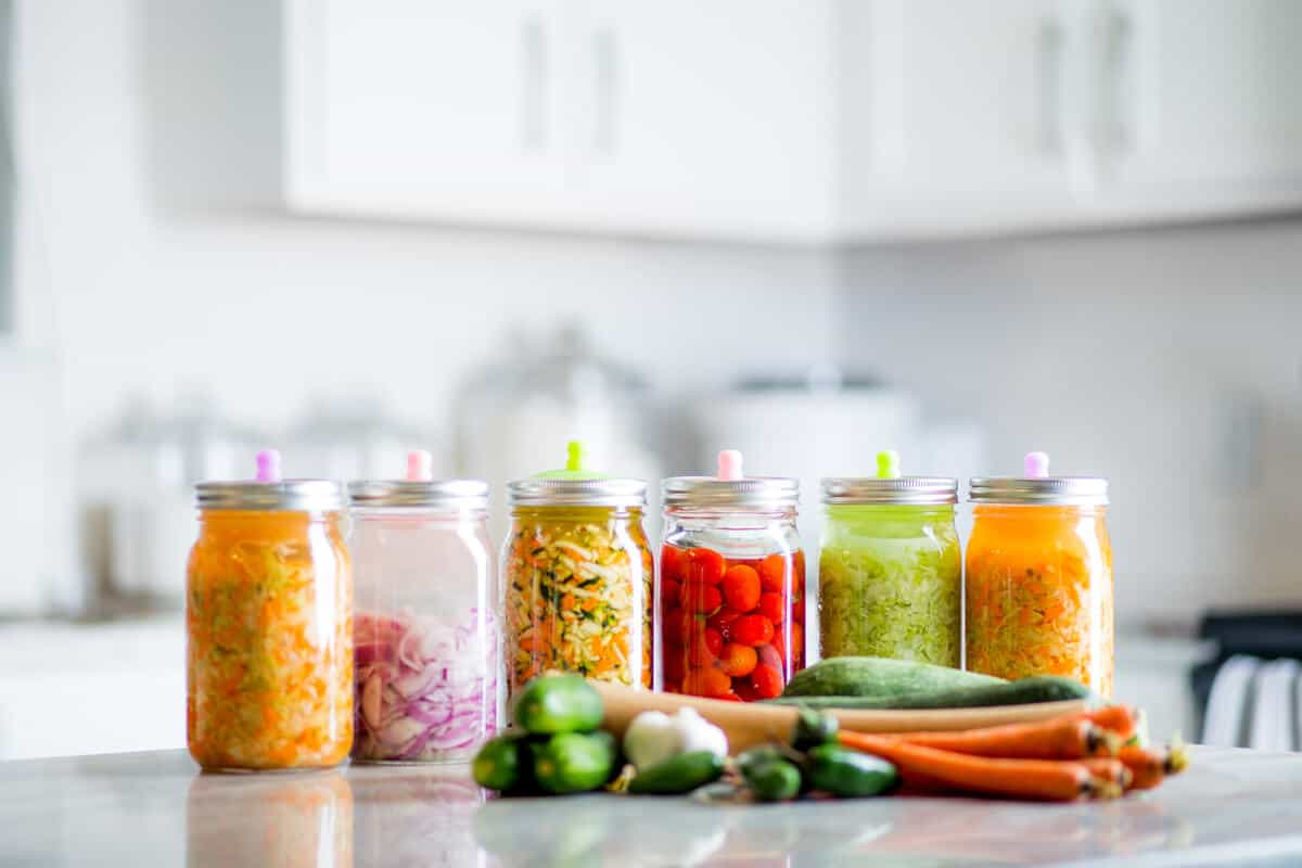 Jars of fermented foods