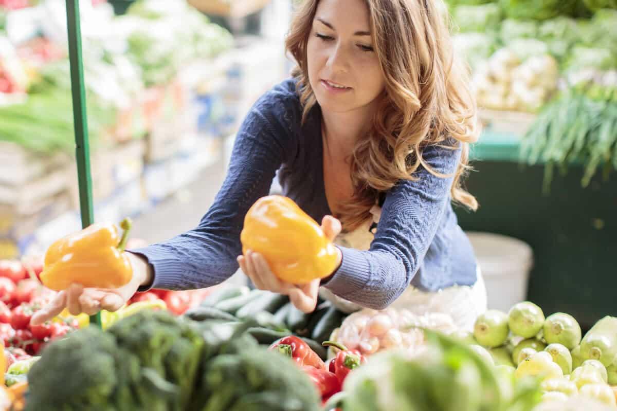 Woman picking organic produce