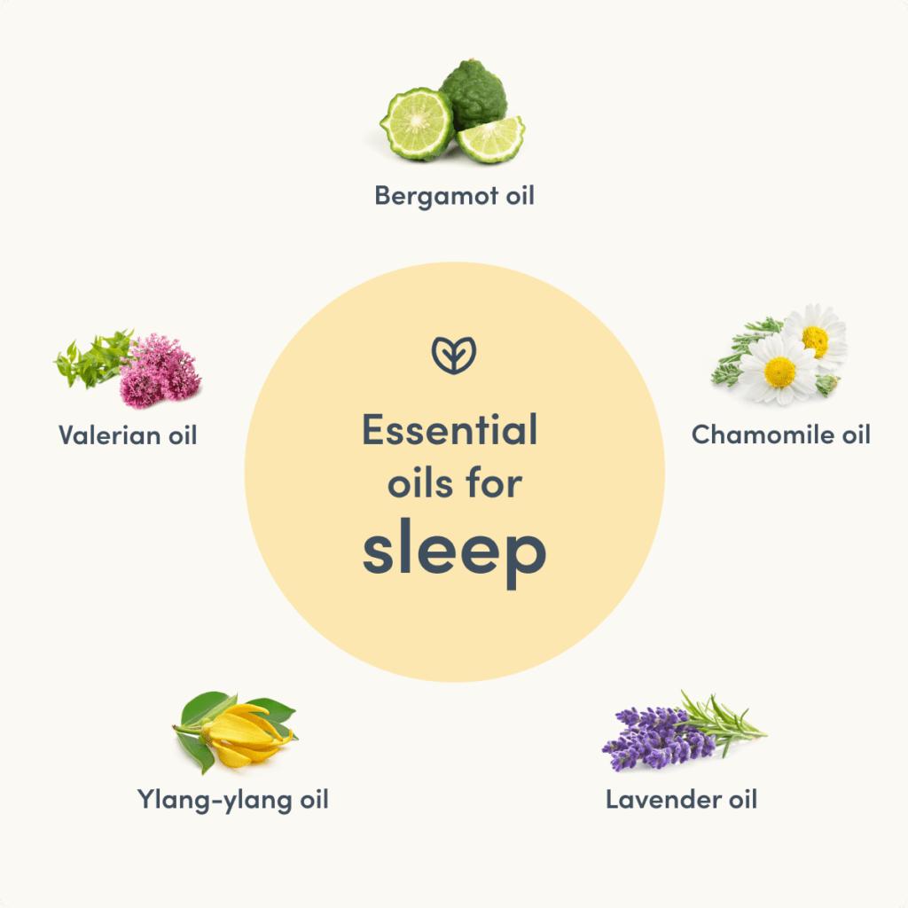 essential oils for sleep valerian bergamot chamomile lavender ylang-ylang