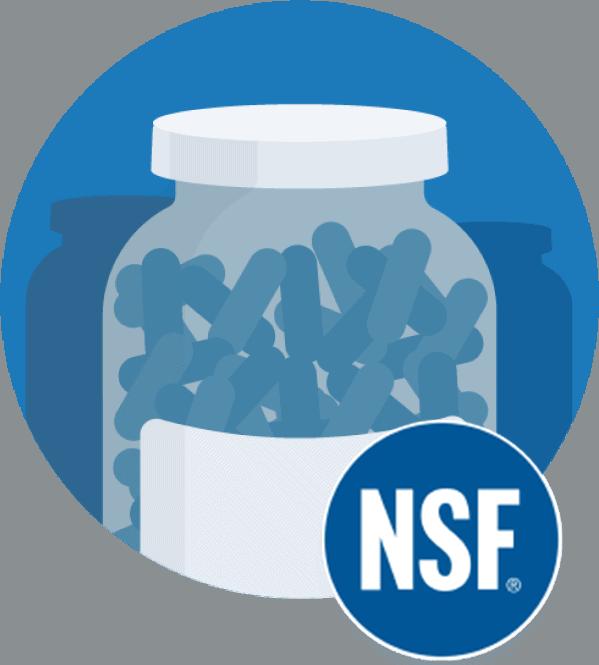 Illustration of a prescription pill bottle and NSF logo